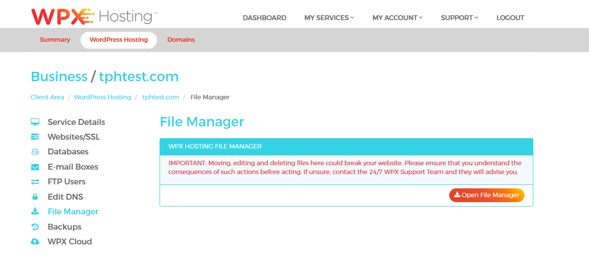Access your File Manager here