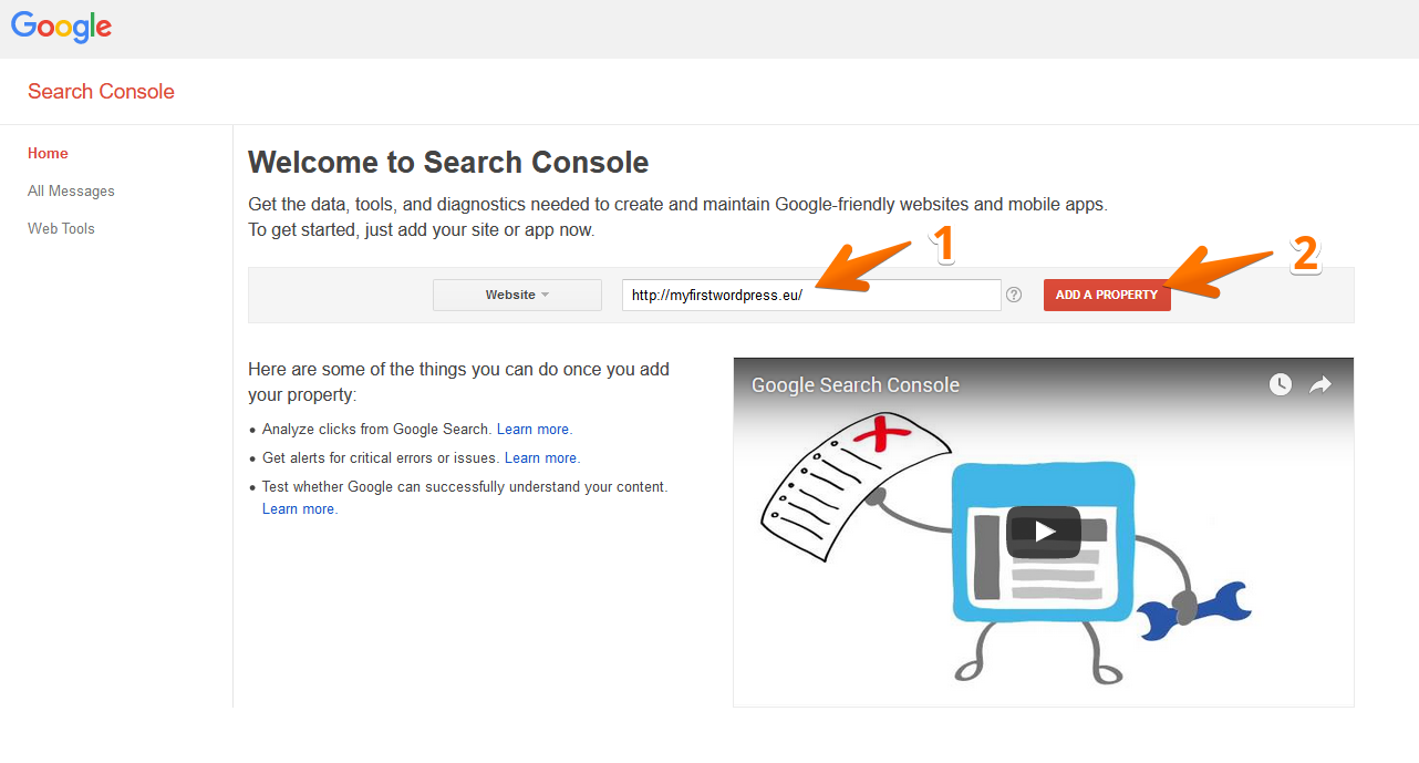 Input your URL into Google Search Console