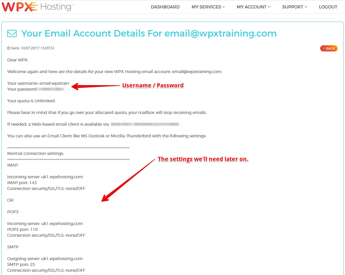 Read your Email Account details here