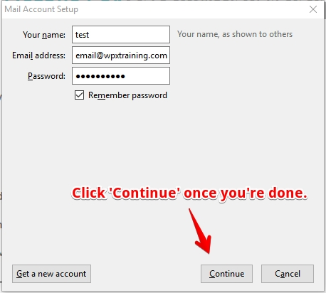 Input your account details