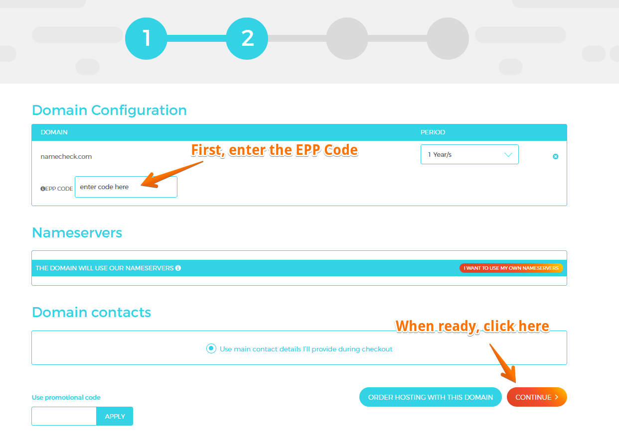 Configure the Domain and input the correct EPP Code