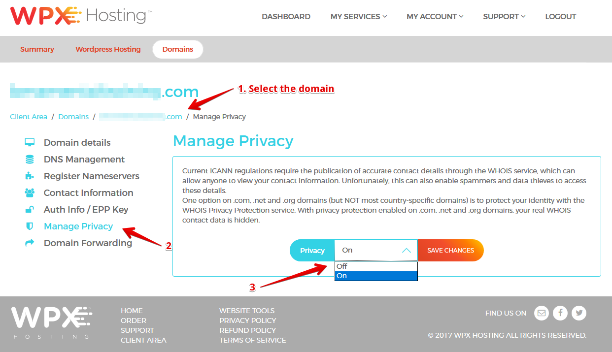 Select the Domain and switch Privacy On