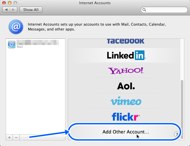 From Internet Accounts, select Add Other Account
