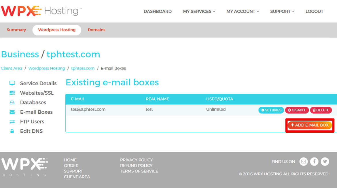 Click Add E-Mail Box