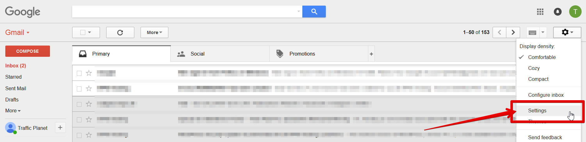 Find your Gmail Settings here