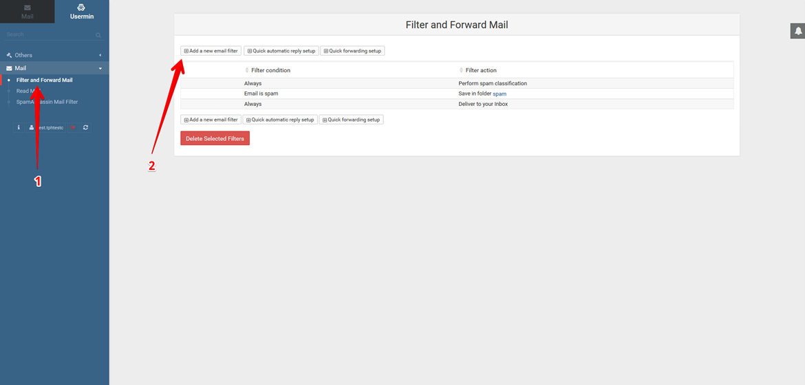 Mail Filtering through Usermin