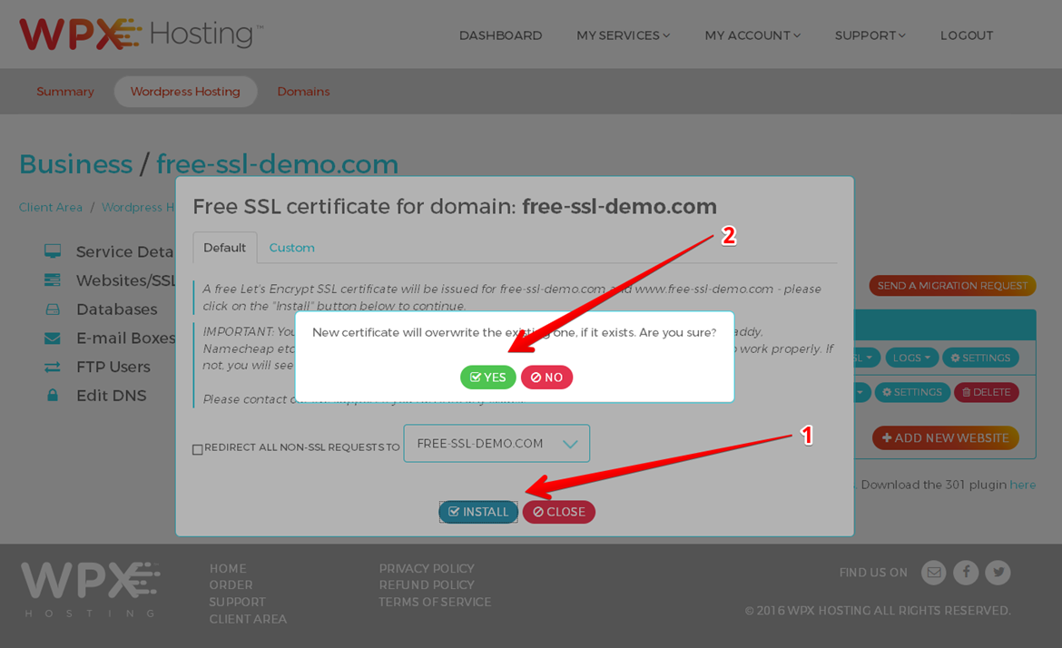 Install the SSL Certificate